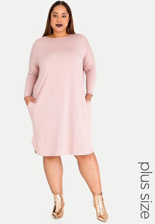e76c4d568c37 3 4 Sleeve T-shirt Dress with Pockets Pale Pink STYLE REPUBLIC PLUS ...