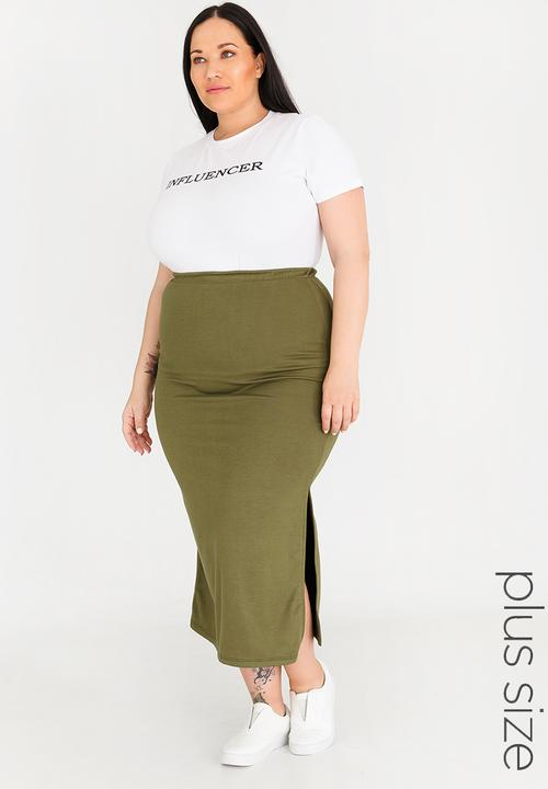 0207095156b Maxi Skirt with Side Slits Khaki Green edit Plus Bottoms   Skirts ...