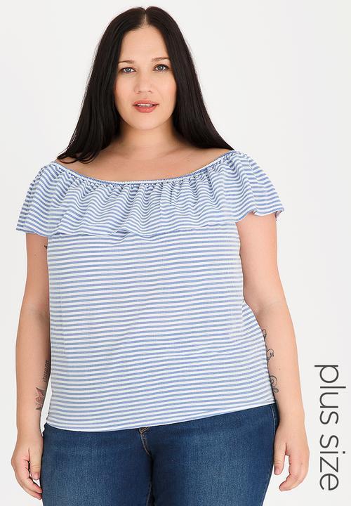 6ba217f9b26085 Bardot tunic - plus size - blue & white STYLE REPUBLIC PLUS Tops ...