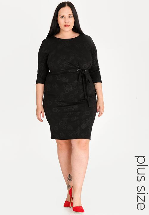 c2f9e27ece2 Eyelet detail bodycon dress - plus size - black STYLE REPUBLIC PLUS ...