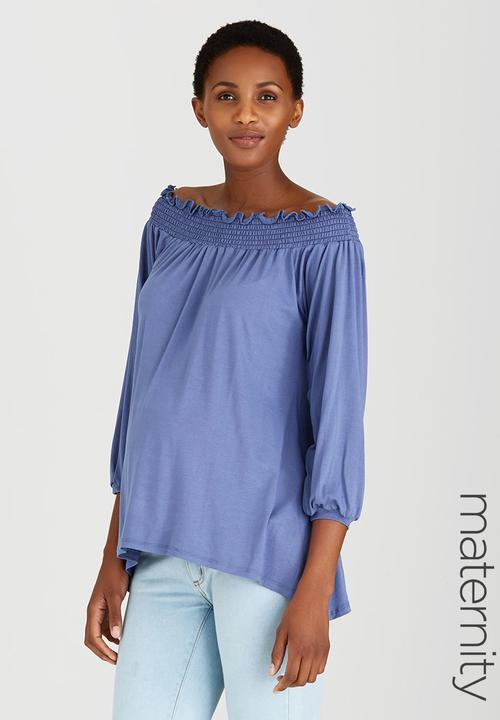 f7085fc6381 Off Shoulder Top Blue edit Maternity Tops