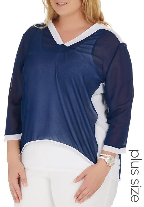 a5636a95a6ccd Inset Blouse Blue and White STYLE REPUBLIC PLUS Tops