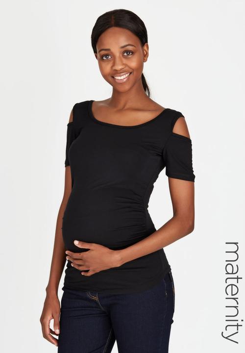6aba5fb9271e8 Cold-Shoulder Tank Top Black edit Maternity Tops