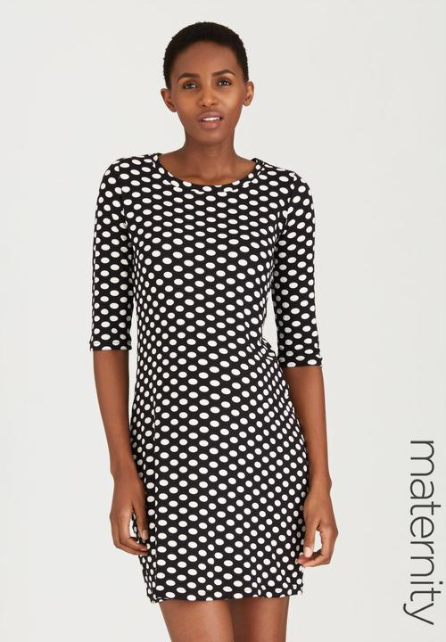 57aee81c432ff Spotted Polka Shift Dress Black and White Me-a-mama Dresses ...