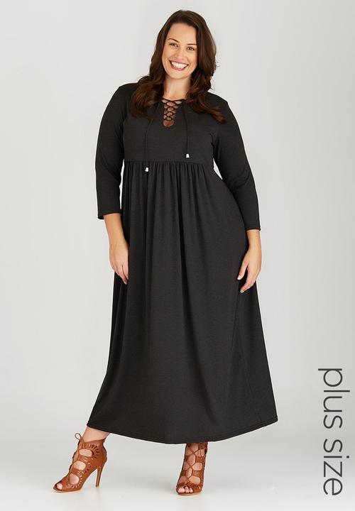 c33ae99b14 Maxi Dress with Tie Detail Dark Grey edit Plus Dresses   Superbalist.com