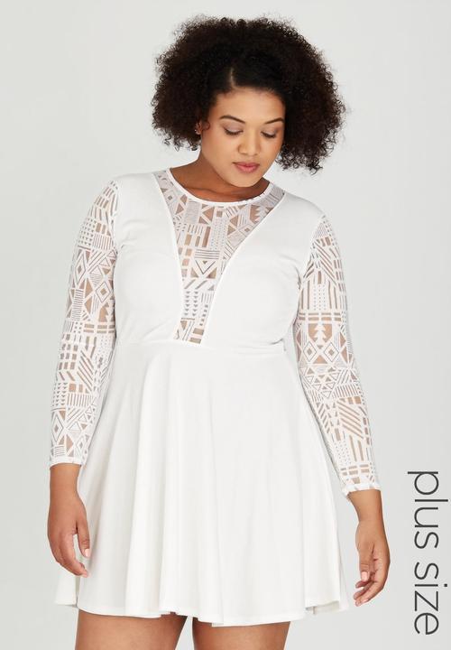3d65039625 Lace Sleeve Skater Dress White Boohoo Dresses