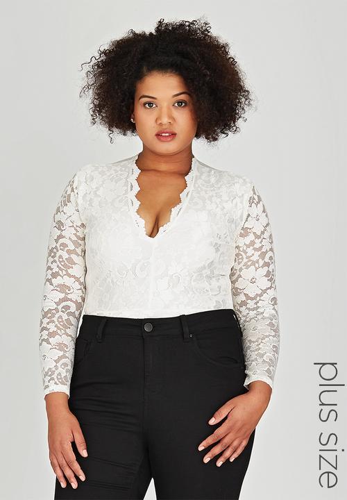 f22658ba0a91e Long Sleeve Lace Bodysuit Cream Boohoo Tops | Superbalist.com