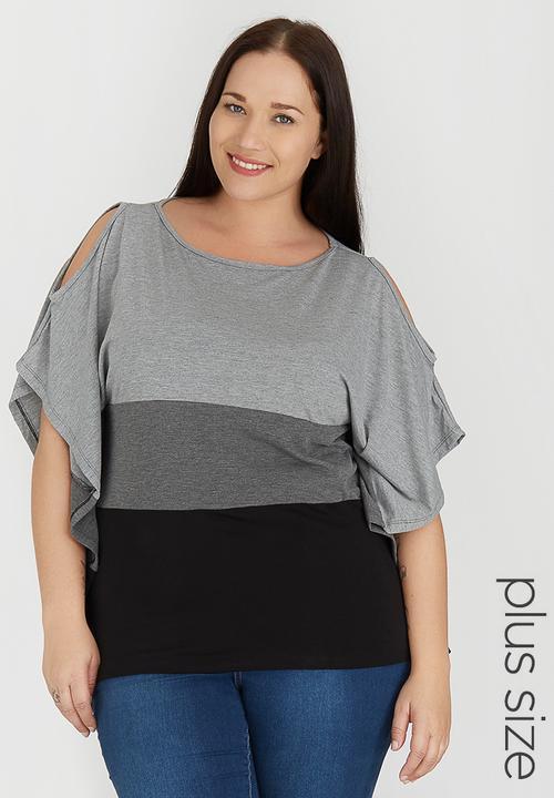 f587d3190f356 Colour Blocked Cold Shoulder Top Grey edit Plus Tops