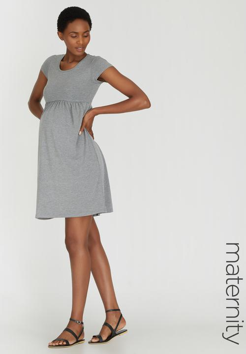 979342bf230a Capped Sleeve Babydoll Dress Grey Melange edit Maternity Dresses ...