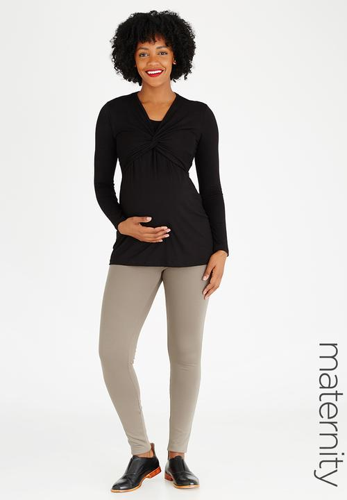 2ab0c6b490d Knot Detail Feeding Friendly Top Black edit Maternity Tops ...
