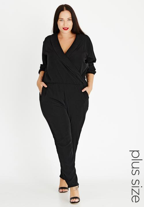 ef3a0a86d5 Wrap Front Jumpsuit Black STYLE REPUBLIC PLUS Dresses | Superbalist.com