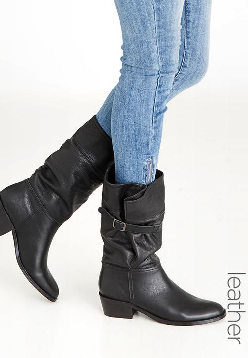 cd100769ce99 Leather Wider Calves Single Buckle Boots Black Julz Boots ...
