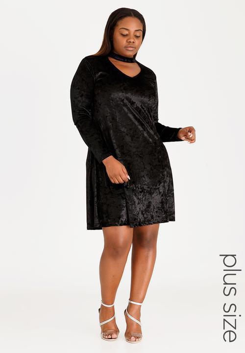 Velour Choker Neck Dress Black STYLE REPUBLIC PLUS Dresses ... fe423f424