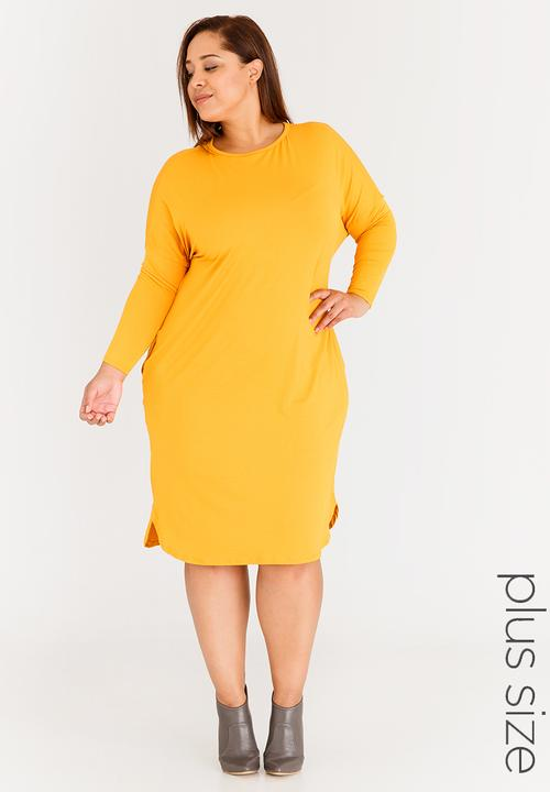 9845ef0e9f06 Long Sleeve T-shirt Dress with Pockets Yellow STYLE REPUBLIC PLUS ...