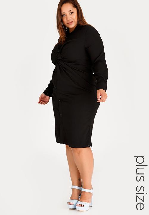 d7aefd8f4e6 Twist Front Shirt Dress Black STYLE REPUBLIC PLUS Dresses ...