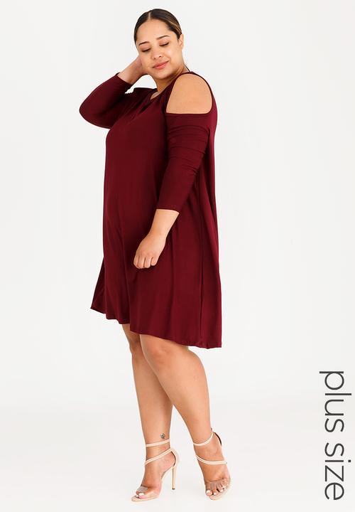 c55506522fcad Knit Cold Shoulder Dress Maroon edit Plus Dresses | Superbalist.com