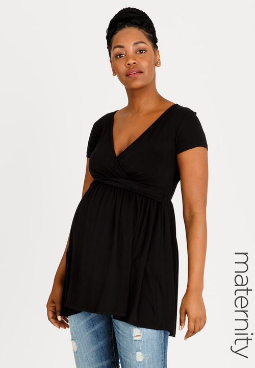 503ec4176e1 V-neck Twist Detail Top Black edit Maternity Tops   Superbalist.com