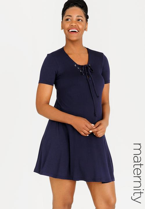 38bd71977d T-shirt Dress with Lace-up Detail Navy edit Maternity Dresses ...