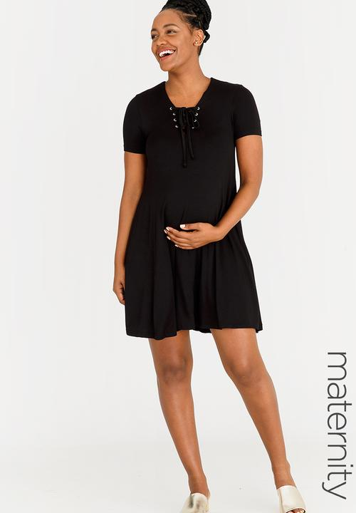 9e757eff31 T-shirt Dress with Lace-up Detail Black edit Maternity Dresses ...
