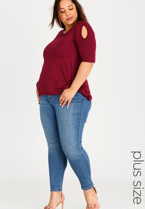 4719cae317036 Cold Shoulder T-shirt with 3/4 Sleeves Dark Red edit Plus Tops ...