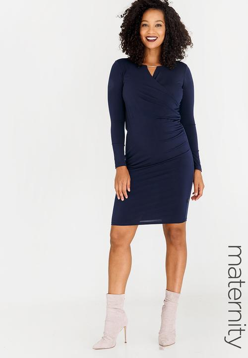 0e9bee027e1 Cocktail Keyhole Mock Wrap Dress Navy Cherry Melon Dresses ...