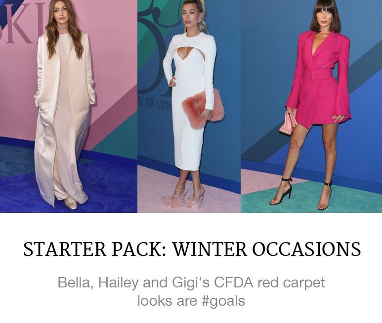 cfda awards bella gigi hadid hailey baldwin red carpet shop superbalist