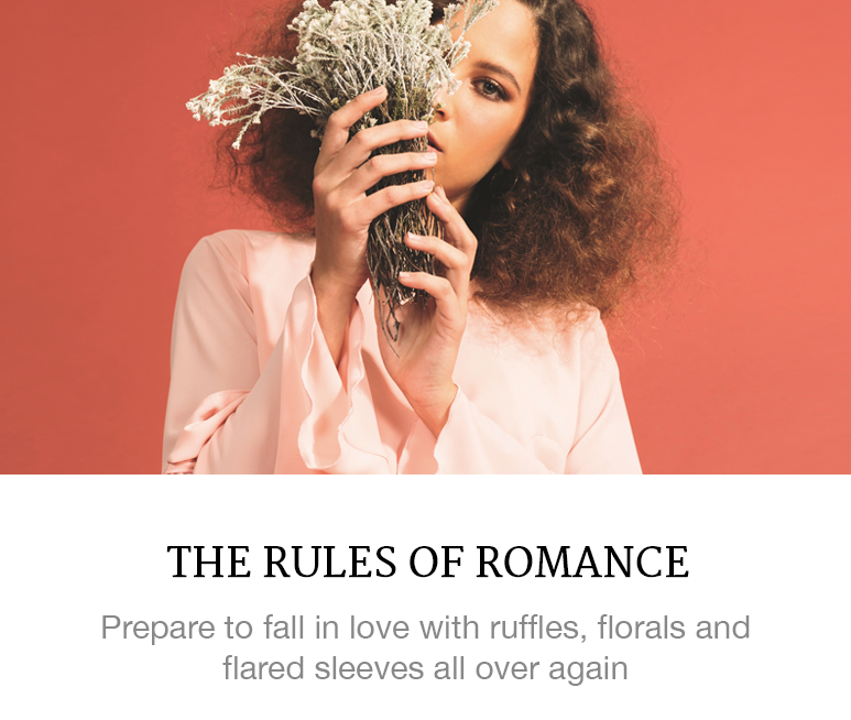 An 80s fashion story of ruffles, florals and flared sleeves.