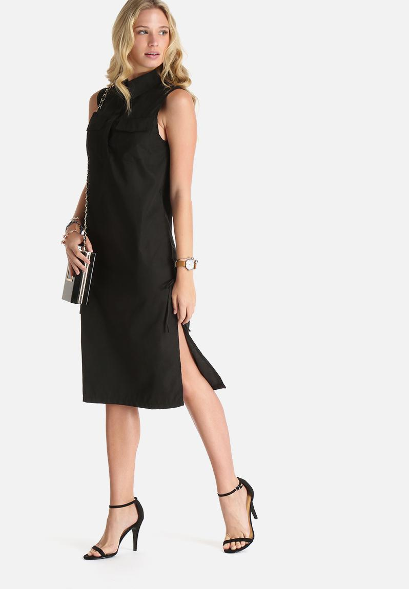 Midi shirt dress with side ties black lola may casual for Midi shirt dress black