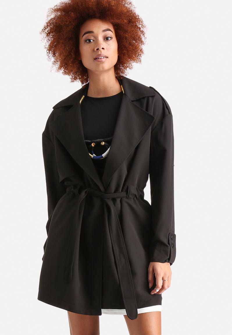 cobra 3 4 trenchcoat black vero moda coats. Black Bedroom Furniture Sets. Home Design Ideas
