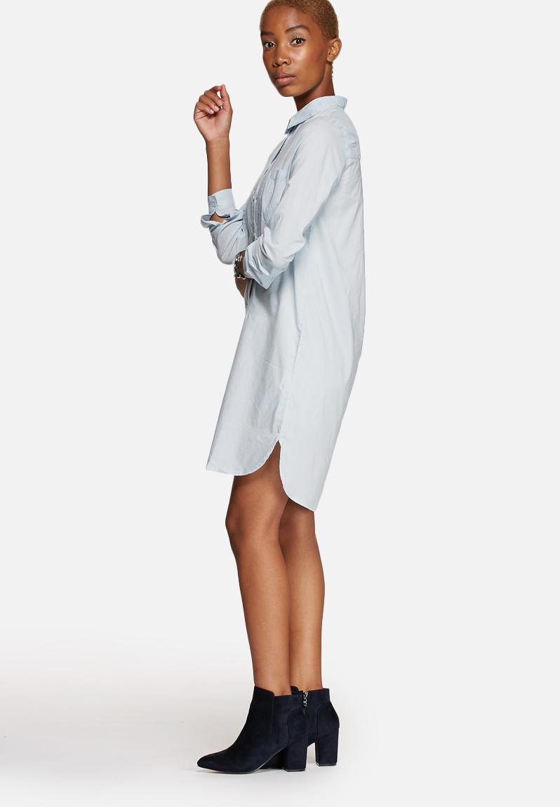 She L S Shirt Dress Baby Blue Jacqueline de Yong Formal