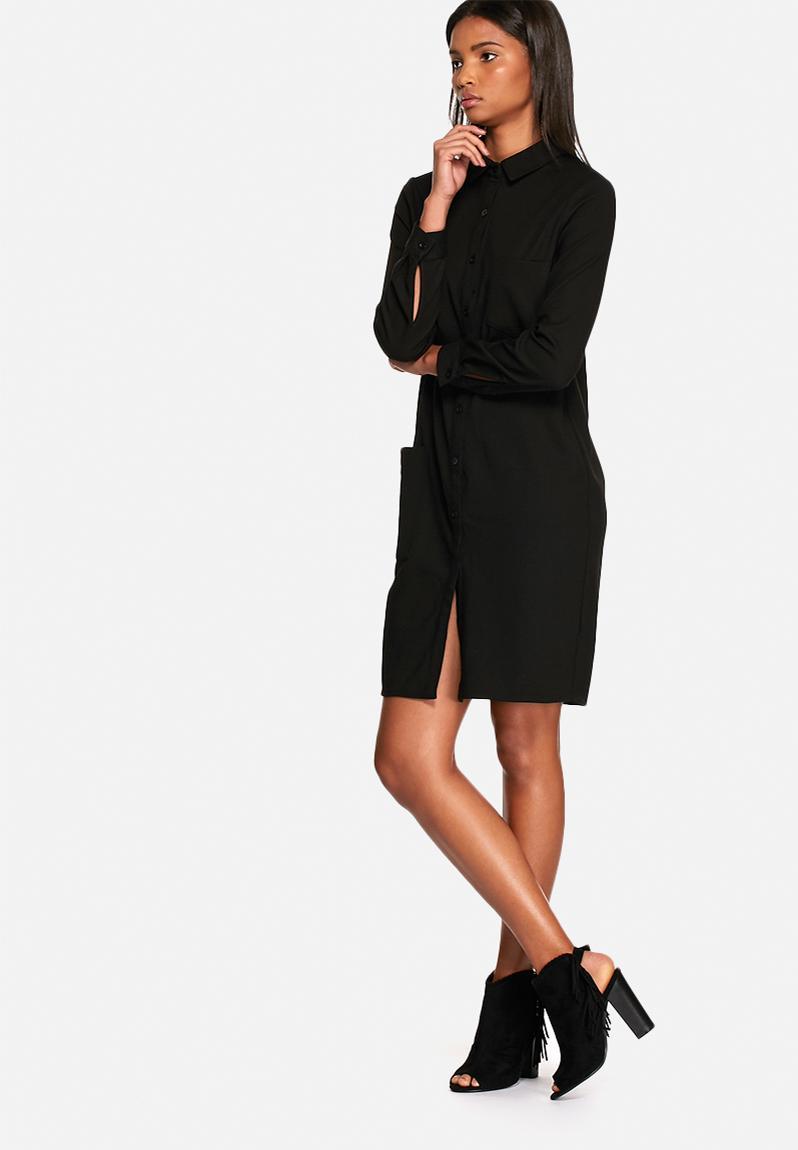 Frill midi shirt dress black neon rose casual for Midi shirt dress black