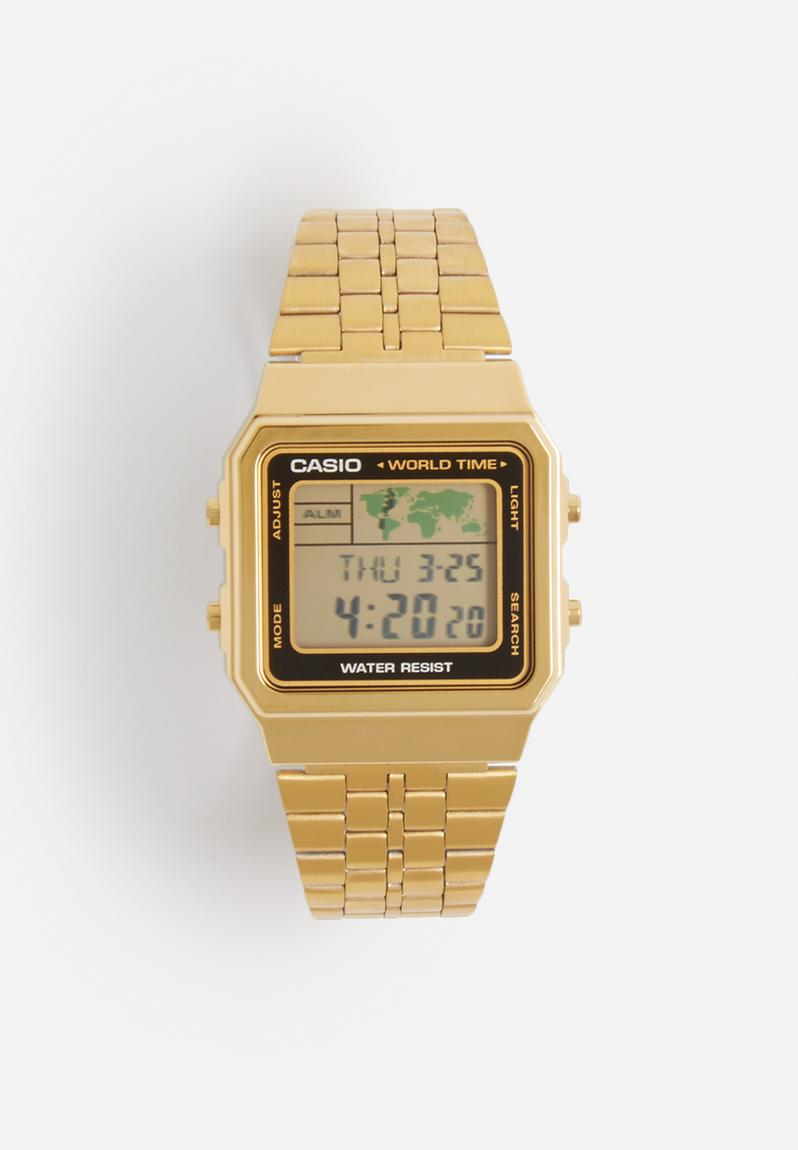 digital wrist watch � gold amp black casio watches