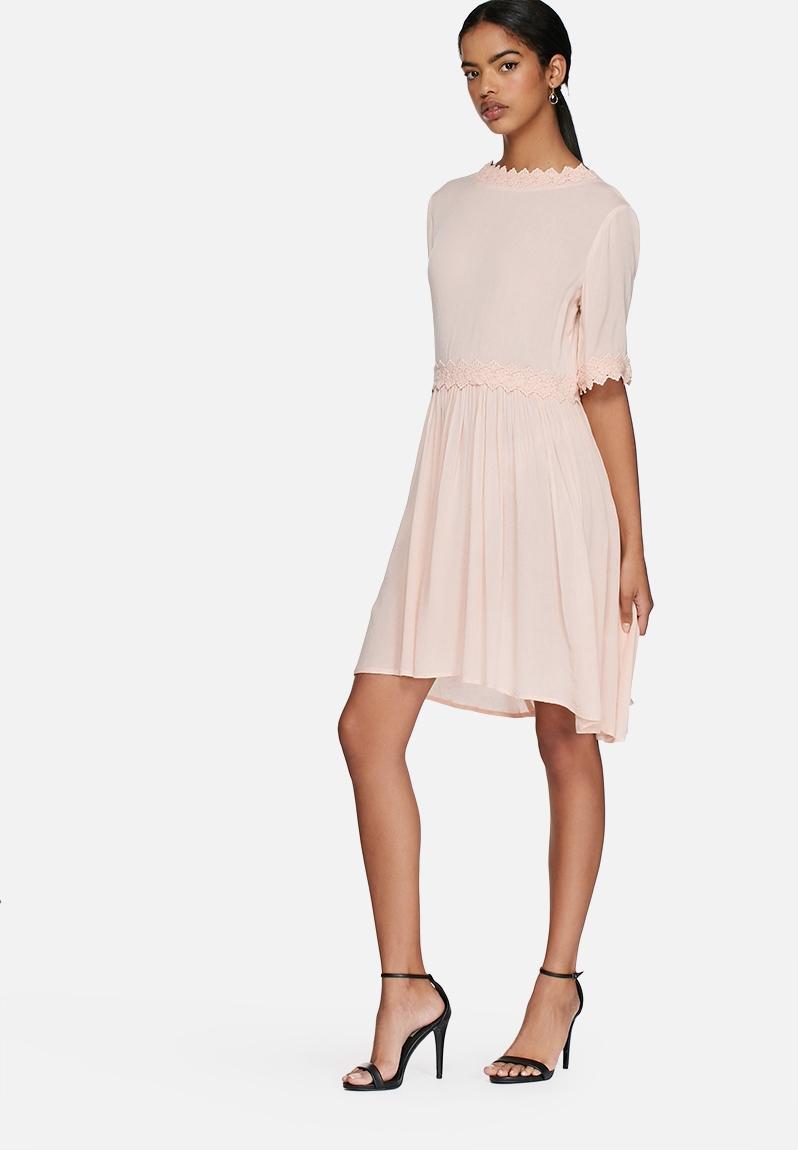 silvia mini dress cream tan vero moda casual
