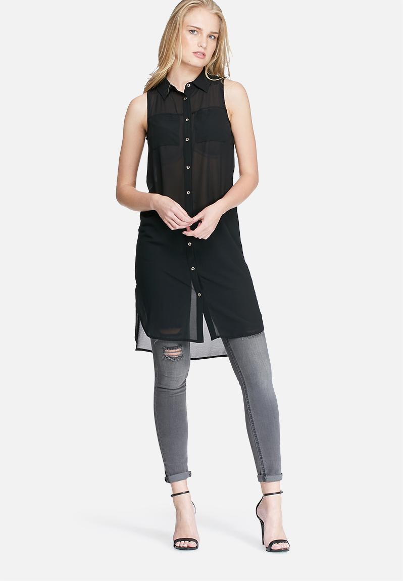 Sleeveless pocket tunic top black dailyfriday blouses for Black sleeveless shirt womens