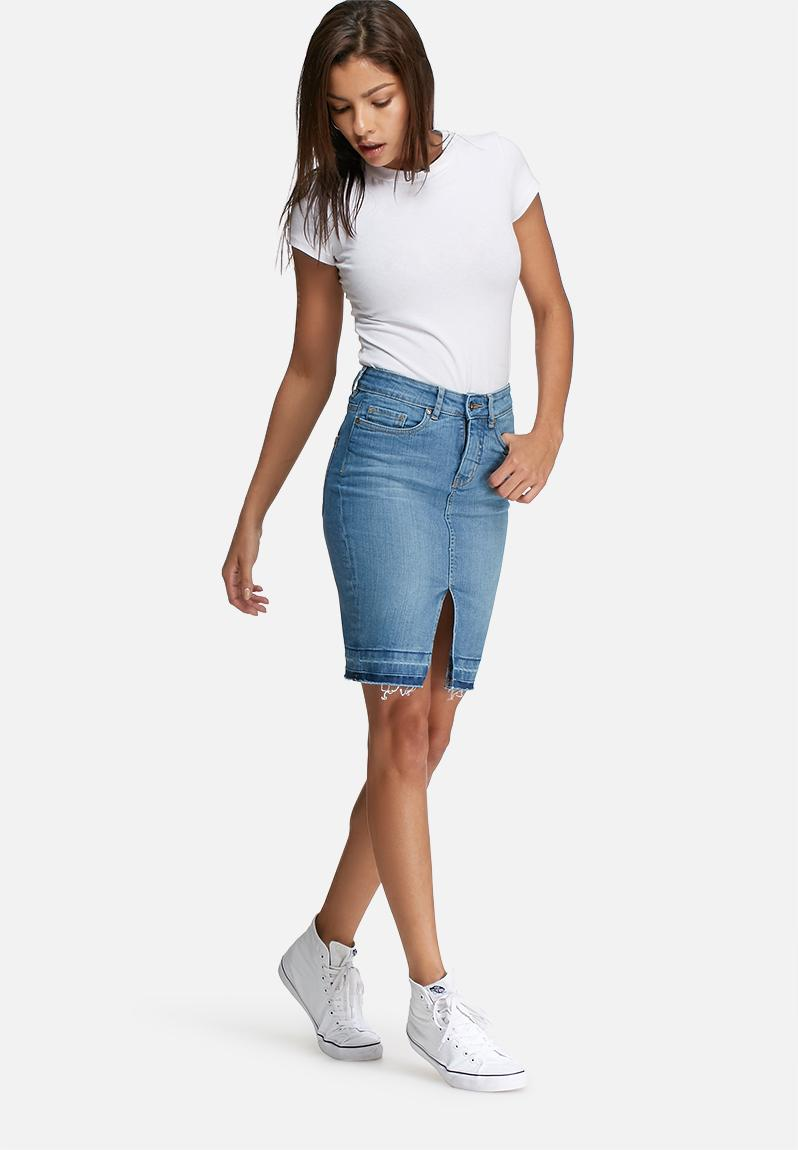 hem denim pencil skirt light wash dailyfriday skirts