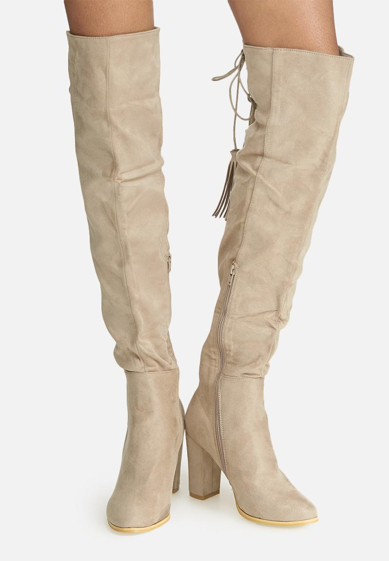 the knee lace up boot faux suede taupe dailyfriday