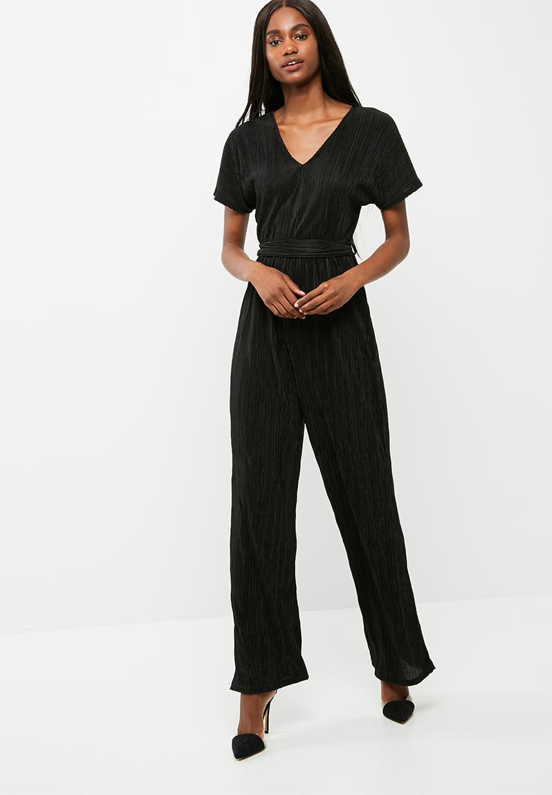 plisse knot detail jumpsuit black dailyfriday jumpsuits. Black Bedroom Furniture Sets. Home Design Ideas