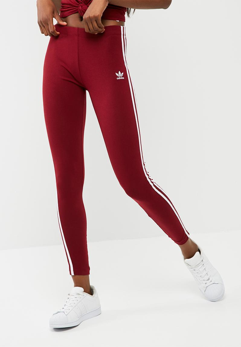 3 stripe legging- burgundy adidas Originals Bottoms ...