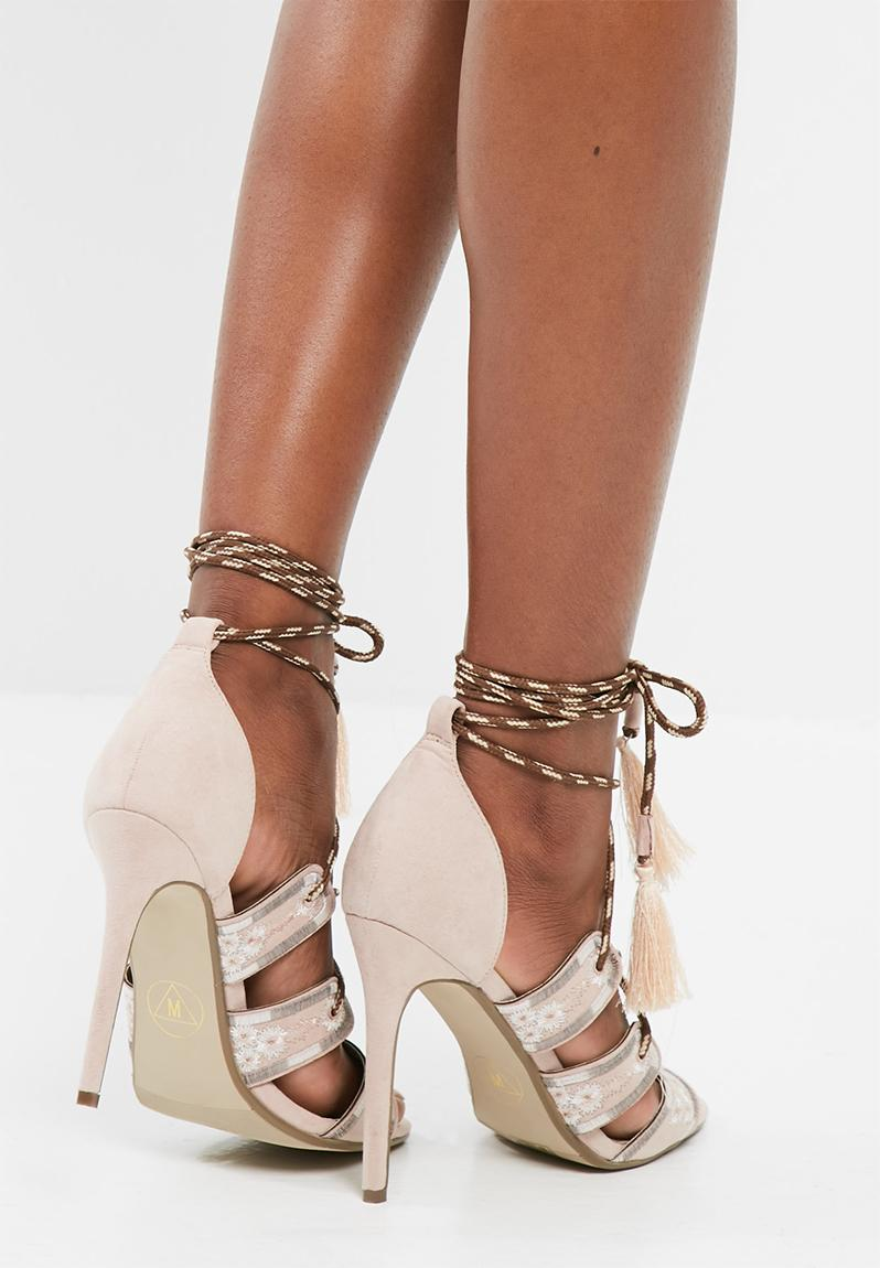 Embroidered lace up gladiator heels - nude Missguided