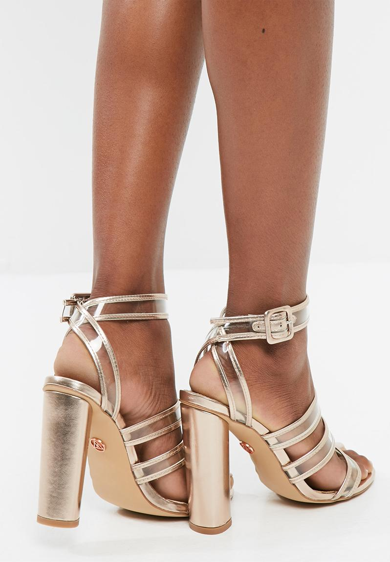 Clear Multi Strap Block Heeled Sandals Rose Gold