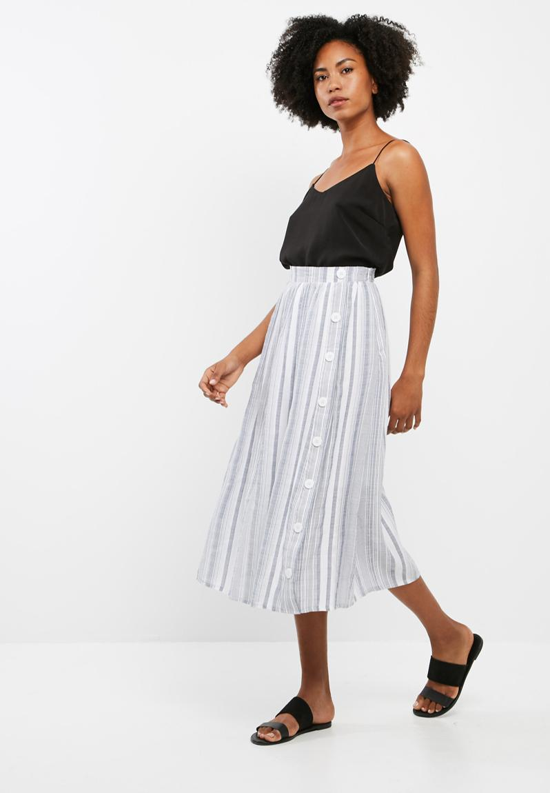 Stripe button through midi skirt - blue and white stripe dailyfriday Skirts | Superbalist.com