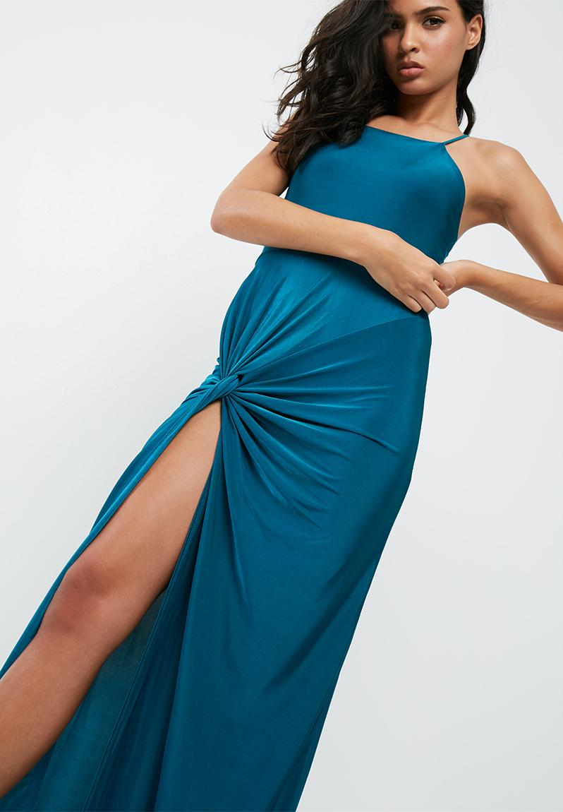 Blue slinky maxi dress - teal Missguided Occasion | Superbalist.com