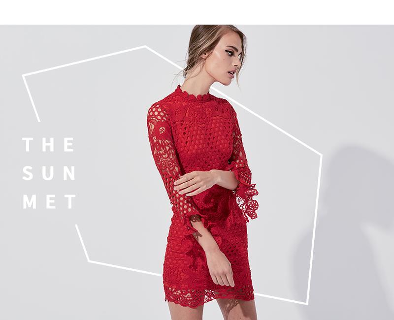 MIssguided High neck crochet long sleeve mini dress