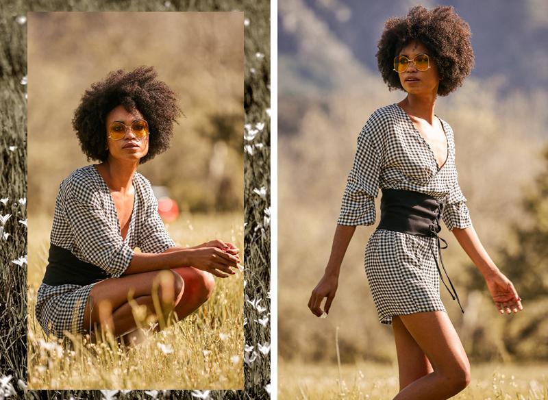 Corset and print dress pairing