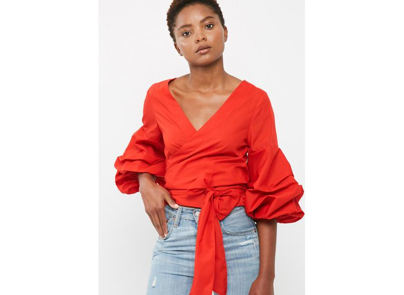 Poplin wrap blouse