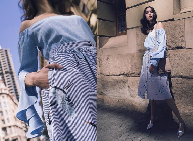 blue top and midi skirt
