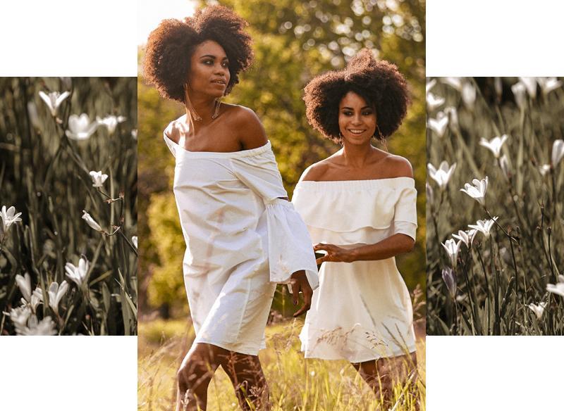 Off-shoulder dress and shoulder duster pairing