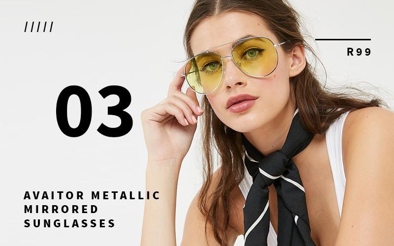 aviator metallic mirrored sunglasses