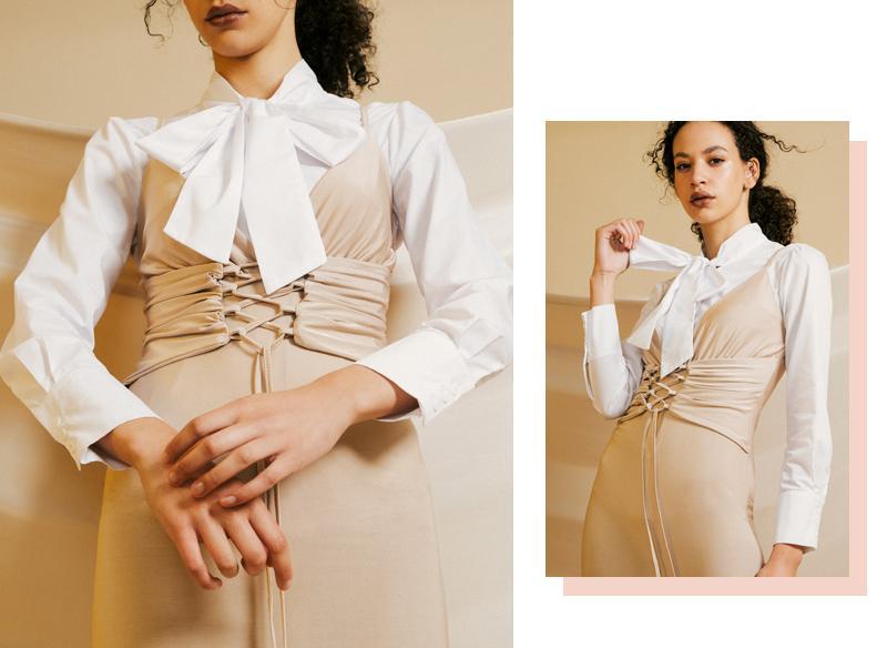 Slinky strappy plunge corset midi dress