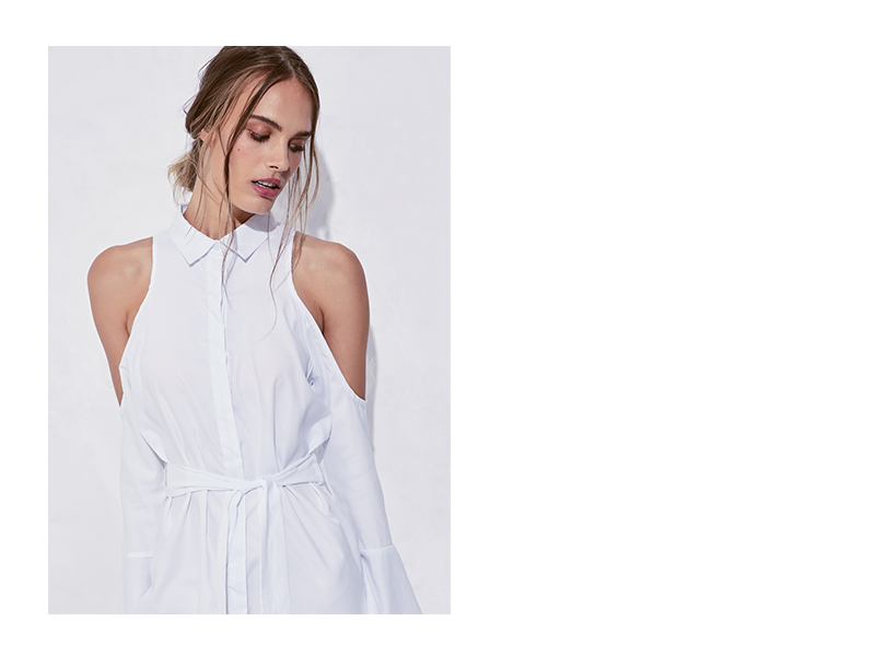Missguided Soft touch cold shoulder tie shirt dress